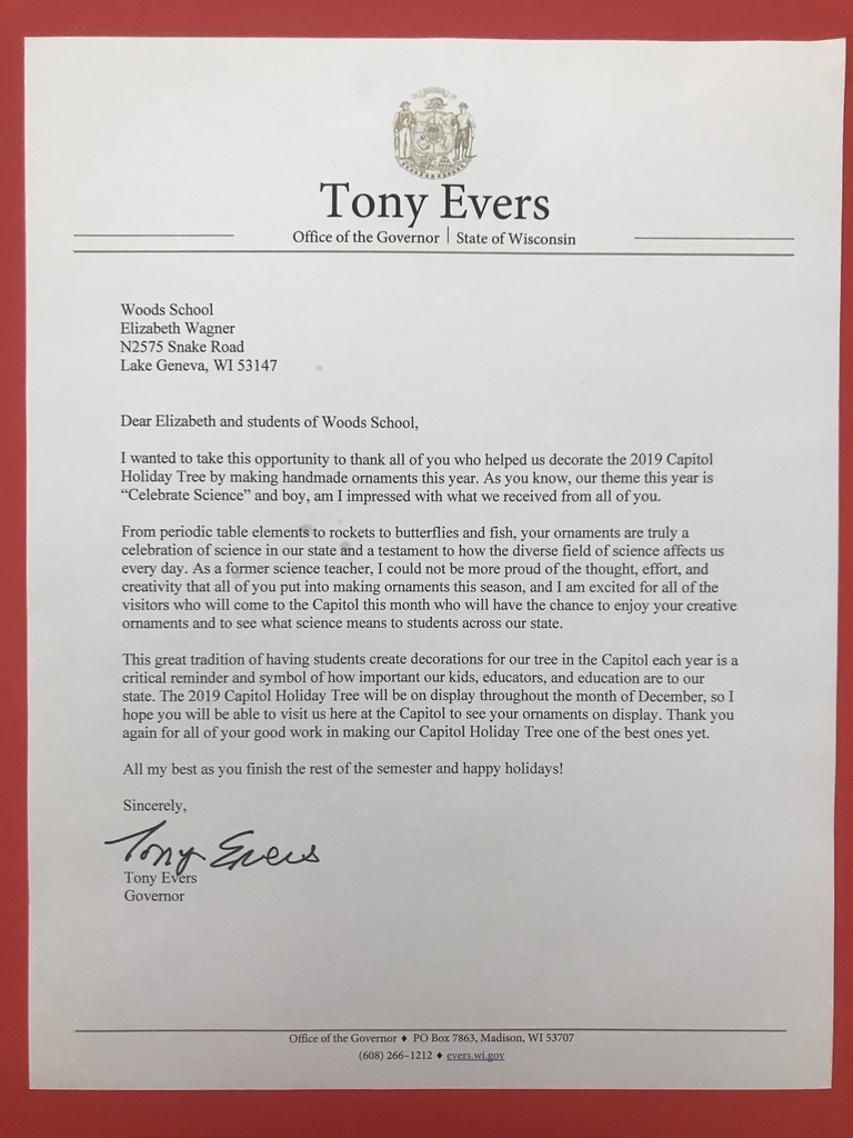 Letter from the Governor